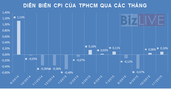 TP. Hồ Chí Minh: CPI tháng 11 tăng 0,1%