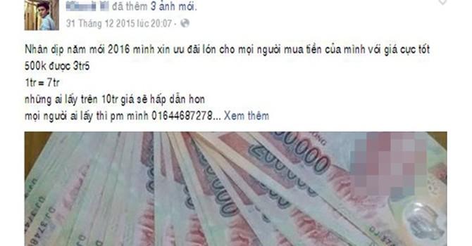 Công khai rao bán tiền giả trên Facebook