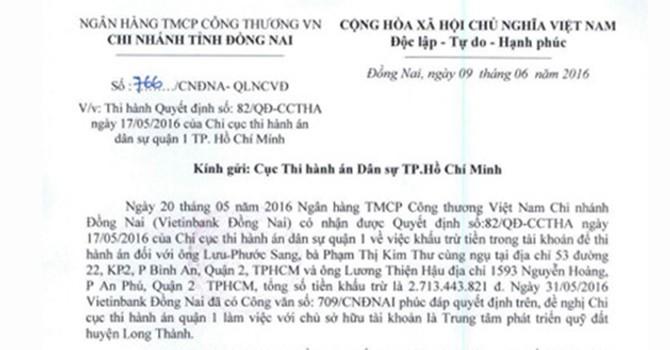 Vì sao VietinBank chưa thi hành án với Phước Sang?
