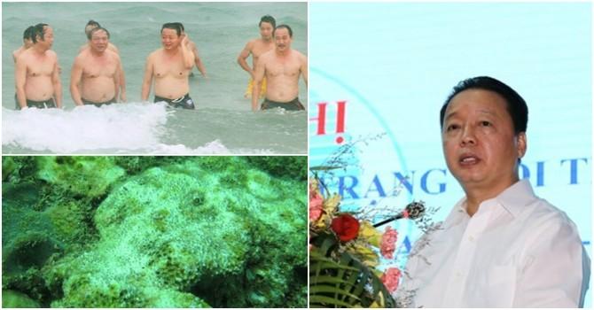 Bộ trưởng ăn hải sản, tắm biển dưới mưa ở Quảng Trị