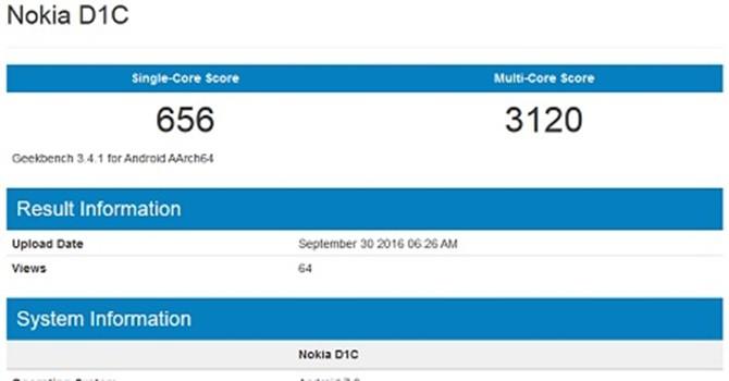 Lộ diện điện thoại Nokia D1C chạy Android 7.0