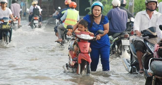 TP.HCM lại ngập do triều cao và mưa lớn