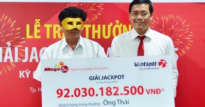 Doanh thu Vietlott tăng 67% sau khi trao thưởng 92 tỷ đồng