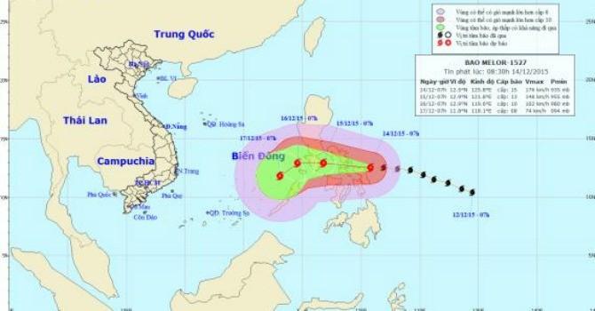 Bão Melor mạnh cấp 17 tiến vào miền Trung Philippines