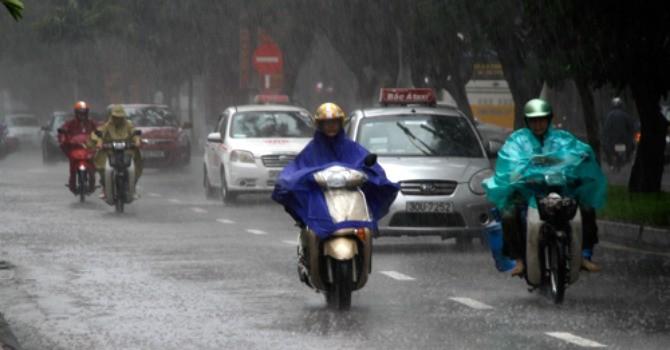 Không khí lạnh tràn vào miền Bắc gây mưa dông trên diện rộng
